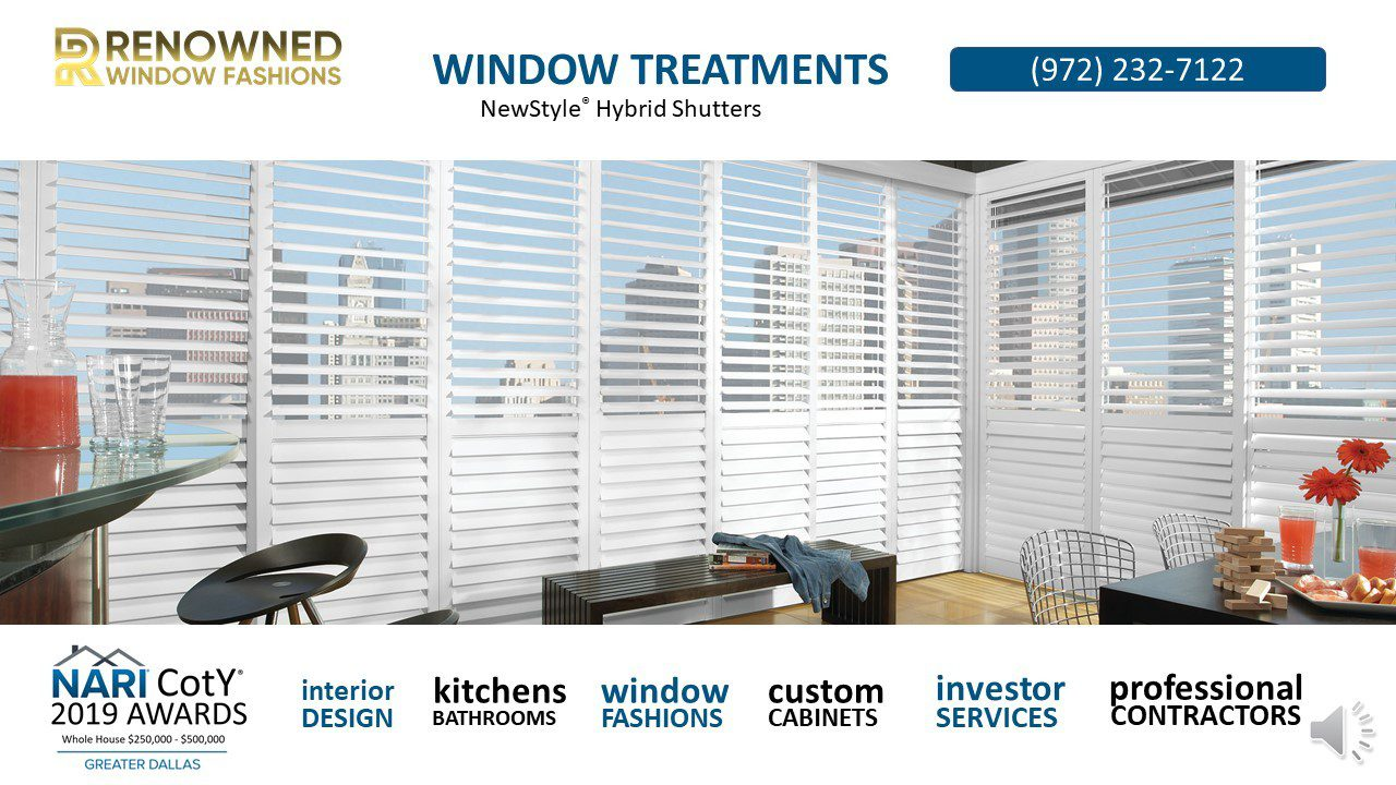 window-blinds-shades-shutters. Plantation Shutters that Combine the Best of Both Worlds The look of wood meets the strength and straightness of modern-day materials in our NewStyle® Hybrid Shutters. A versatile complement to any interior, their low-luster finish makes the beauty of high-quality shutters affordable for any home.