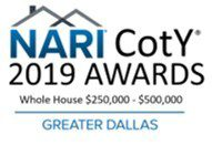 2019 Dallas NARI Contractor of the Year for Whole House Remodel $250,00-$500,000
