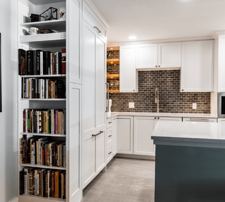 Dallas Condo After Kitchen Remodel with Custom Cabinets and Bookcase
