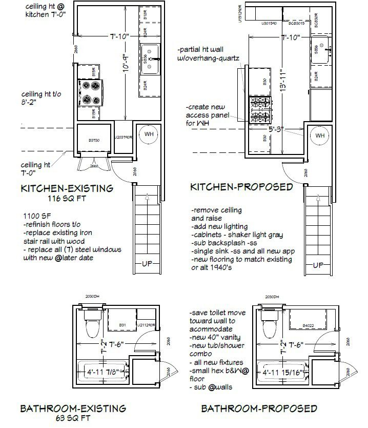 Existing and Proposed Floor Plan-for Dallas Condo Remodel