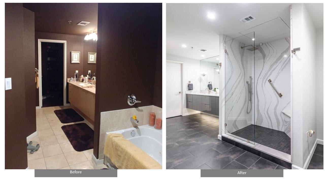 Before and After High-Rise Condo aster Bath Remodel Dallas Texas
