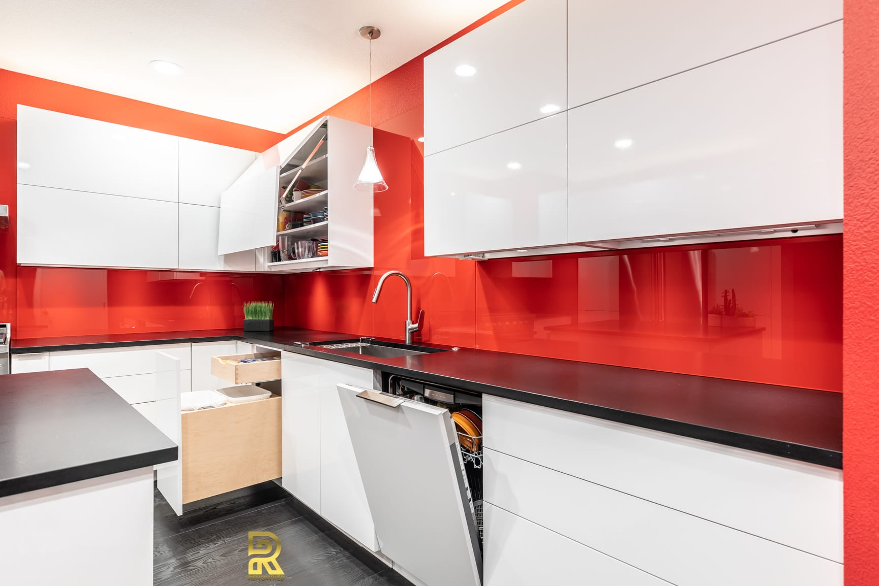 Red Hot Dallas High Rise Condo Kitchen After Remodeling by Renowned Renovation